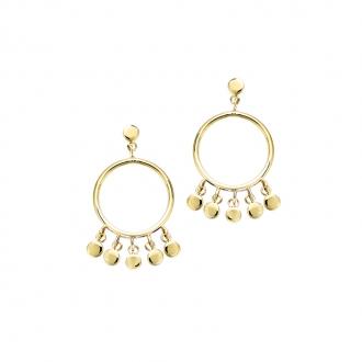 Boucles d'oreilles pendantes Carador rond et pampilles en plaqué or