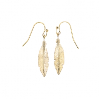 Boucles d'oreilles pendantes Carador plume texturée en plaqué or