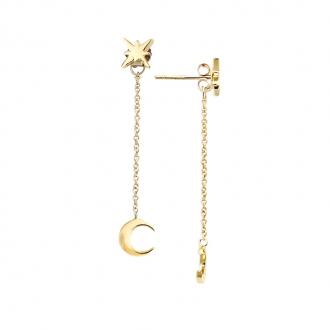 Boucles d'oreilles devant derrière Carador étoile et lune en plaqué or
