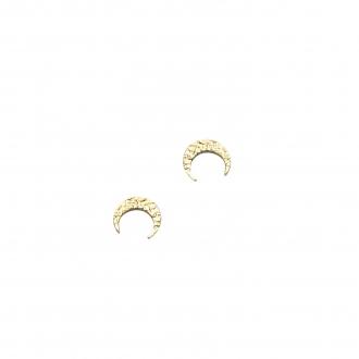 Boucles d'oreilles clous Carador croissant de lune martelé en plaqué or