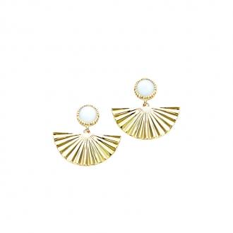 Boucles d'oreilles pendantes Carador éventail avec pierre cabochon en plaqué or