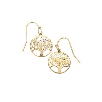 Boucles d'oreilles pendantes Carador arbre de vie en plaqué or