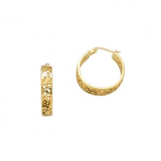 Boucles d'oreilles créoles Carador arabesque en plaqué or