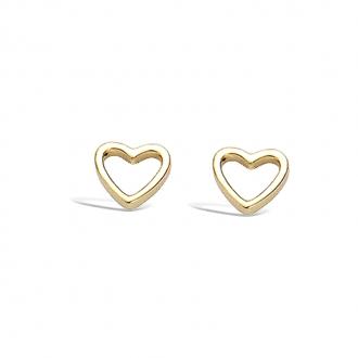 Boucles d'oreilles clous Carador coeur évidé en plaqué or