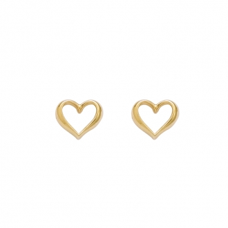 Boucles d'oreilles clous Carador forme coeur en plaqué or