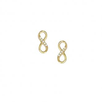 Boucles d'oreilles clous Carador infini en plaqué or et oxydes de zirconium