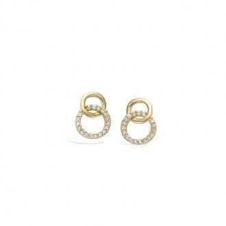 Boucles d'oreilles clous Carador cercles entrelacés en plaqué or et oxydes de zirconium