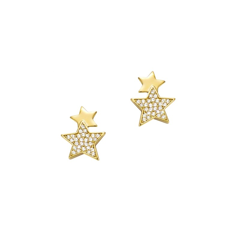 Boucles d'oreilles clous Carador doubles étoiles en plaqué or et oxydes de zirconium