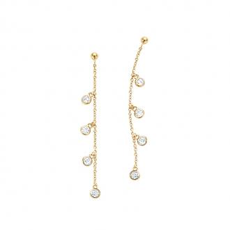 Boucles d'oreilles pendantes Carador chaine avec pampilles oxyde de zirconium en plaqué or