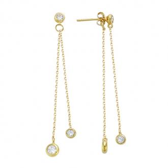 Boucles d'oreilles pendantes Carador chaine avec pampilles devant derrière oxyde de zirconium en plaqué or