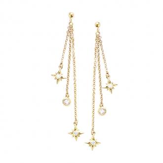 Boucles d'oreilles pendantes Carador pampilles étoiles oxyde de zirconium en plaqué or