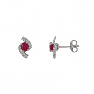 Boucles d'oreilles clous Carador baroque en or blanc 750/000, rubis et diamants