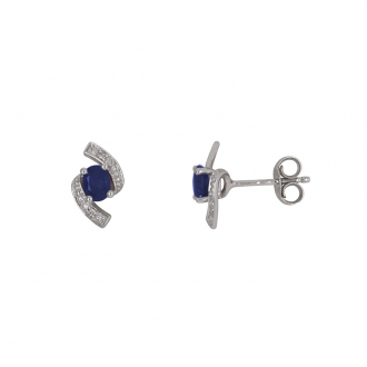Boucles d'oreilles clous Carador baroque en or blanc 750/000, saphir et diamants