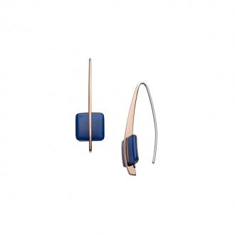 Boucles d'oreilles pendantes Skagen Sea Glass bouton carré Bleu SKJ1135791