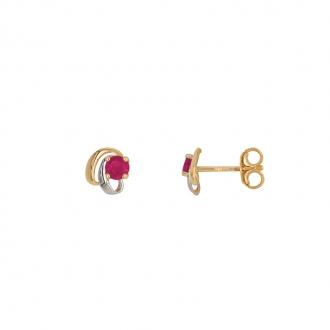 Boucles d'oreilles clous Carador baroque en or bicolore750/000 et rubis