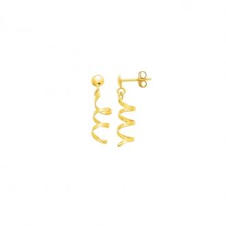 Boucles d'oreilles pendantes Carador tourbillon or jaune 750/000