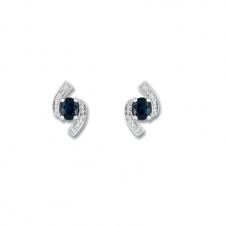 Boucles d'oreilles clous Carador baroque en or blanc 750/000, saphir et diamants