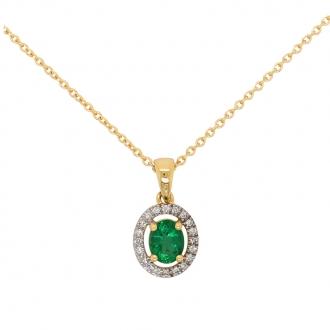 Collier Carador Baroque en or jaune 750/000, émeraude et diamants