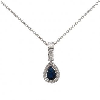 Collier Carador Intemporel en or blanc 750/000, saphir et diamants