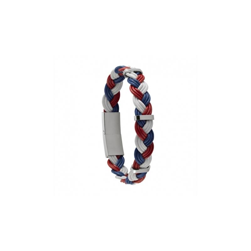 Bracelet Homme Jourdan Cuir tréssé tricolore
