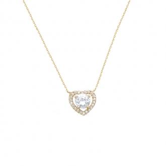 Collier Carador coeur en plaqué or et oxyde de zirconium