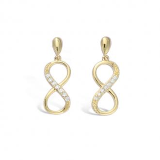 Boucles d'oreilles pendantes Carador infini en plaqué or et oxydes de zirconium