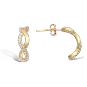 Boucles d'oreilles pendantes Carador motif tresse plaque or et oxydes de zirconium