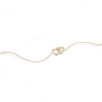 Bracelet souple Carador coeur enlacés en plaqué or