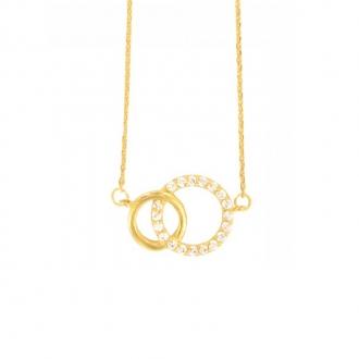 Collier Carador cercles enlacés en plaqué or et oxyde de zirconium