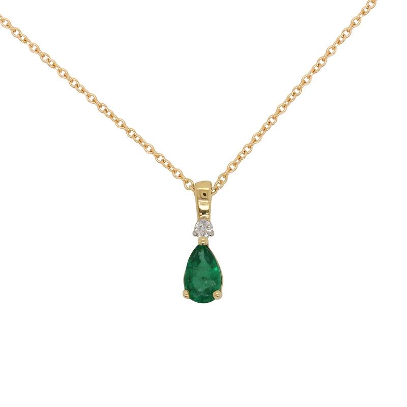 Collier Carador Or 18K Pierres Diamant et Émeraude