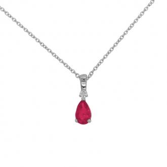 Collier Carador Or Blanc 18K Pierres Diamant et Rubis