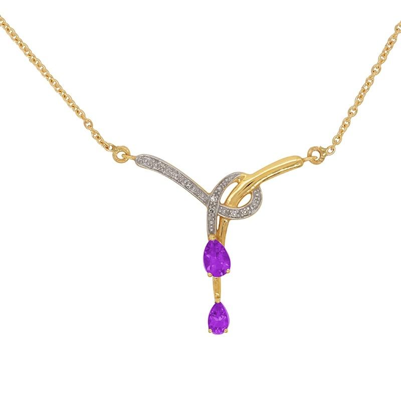 Collier Carador en Or Jaune 18K Diamants et Amethyste