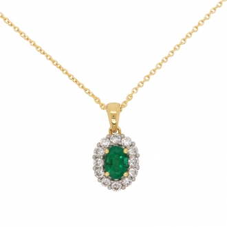 Collier Carador en Or Jaune 18K pendentif pierres diamants et émeraude