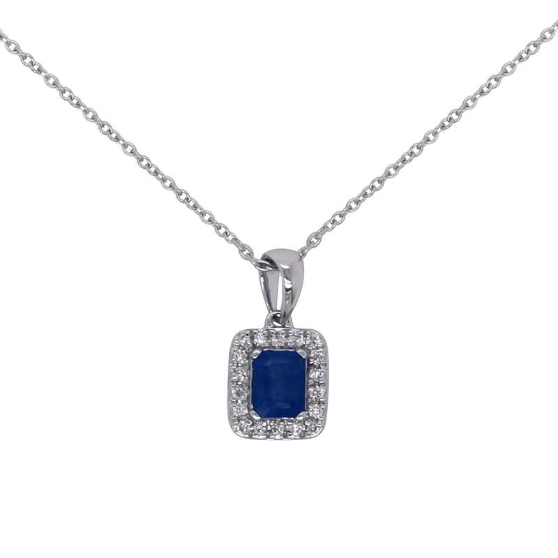 Collier Carador en Or Blanc 18K Pierres Diamants et Saphir