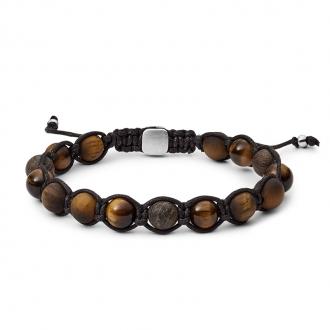 Bracelet Homme Fossil oeil de tigre et bronzite JF03110040