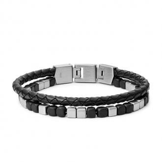 Bracelet Homme Fossil double rang cuir et perle d'agate noire JF03122040