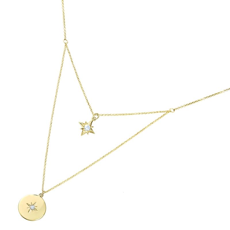 collier Carador double rangs étoile et pastille en plaqué or