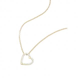 collier Carador coeur évidé en plaqué or et oxydes de zirconium