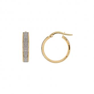 Boucles d'oreilles créoles Carador glitter en or jaune 375/000