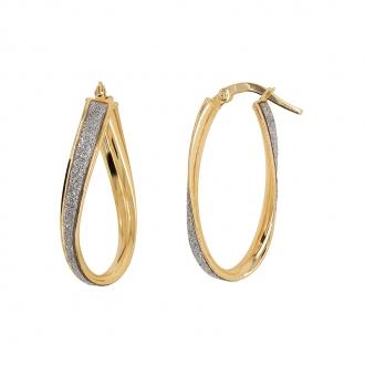 Boucles d'oreilles Carador créoles glitter torsadées en or jaune 375/000
