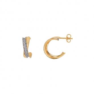 Boucles d'oreilles Carador demi-créoles glitter en or jaune 375/000