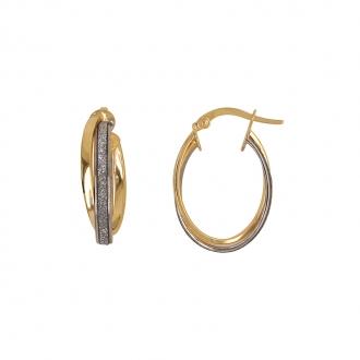 Boucles d'oreilles Carador créoles glitter ovales en or jaune 375/000