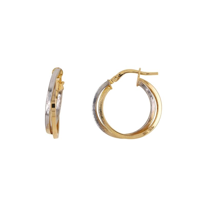 Boucles d'oreilles Carador créoles doubles fil carré or jaune et blanc 750/000