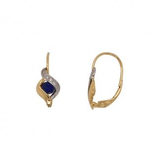 boucles d'oreilles Carador dormeuses or bicolore 750/000, diamants et saphir