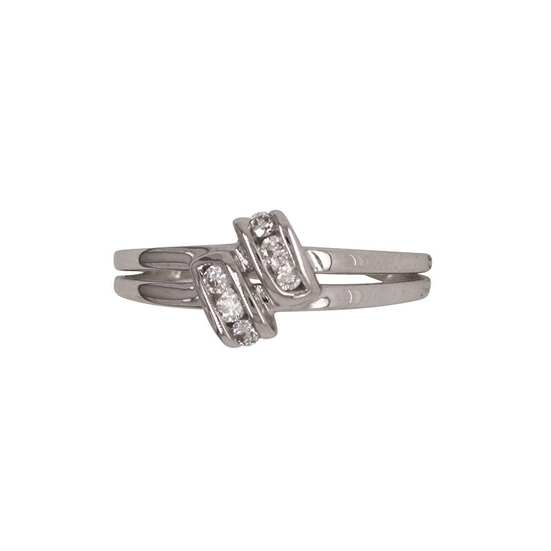 Bague Carador double rangs en or blanc 750/000 et diamants 0,11 cts