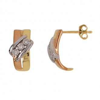 Boucles d'oreilles demi-créoles Caradoror tricolore 750/000 et diamants 0,05 cts