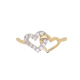 Bague cœurs enlacés en or jaune 750/000 et oxydes de zirconium CARADOR
