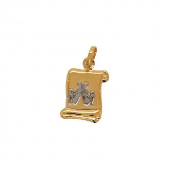 Médaille Carador parchemin gémeaux or bicolore 750/000