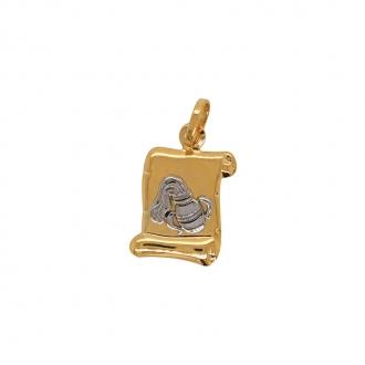 Médaille Carador parchemin Verseau or bicolore 750/000
