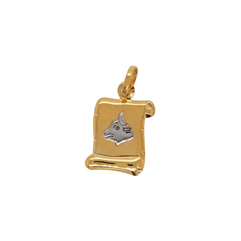 Médaille Carador parchemin Taureau or bicolore 750/000